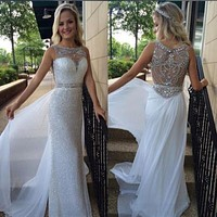 Fashion Straight White Sequins Prom Dresses 2016 Custom Beaded Crystal Scoop Neck Floor Length Formal Evening Gowns