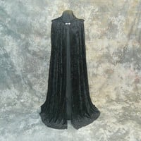 Hooded Cape in Black Crushed Velvet - Gothic Vampire Costume - Renaissance Costume - Wizard Witch Cloak