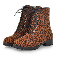 Dr. Martens Women's Fashion Leopard Print Lace Up Boot