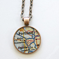 Portland Oregon Map Necklace with 24 inch Chain or Keychain Option Includes Gift Box