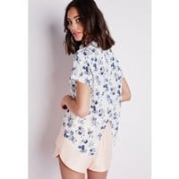 Missguided - Wrap Back Floral Print Shirt