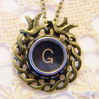 Bronze Typewriter Key G Necklace Birds on Round Cabochon Setting and 18 Inch Antiqued Bronze Chain and Lobster Clasp Typewriter Key Jewelry