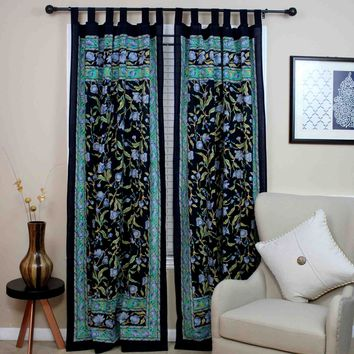 Tab Top Curtain Drape Floral Black Blue Green 44x88 Cotton Kitchen Door Panel