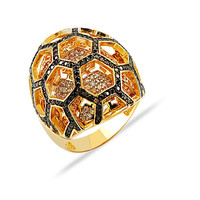 Honeycomb 14k Solid Gold Pave Ring Best Design on 14k solid gold