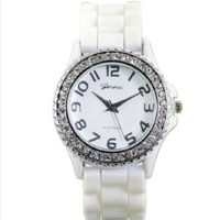 Geneva Platinum CZ Accented Silicone Watch, Silver Ring Small Face