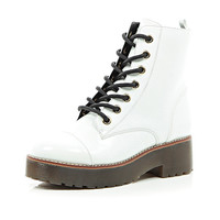 River Island Womens White chunky lace up ankle boots