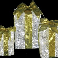 SheilaShrubs.com: LED Lighted Gift Boxes with Gold Bows (Set of 3) D24 6820702X by Decra Lite Ltd: Christmas Outdoor Decor