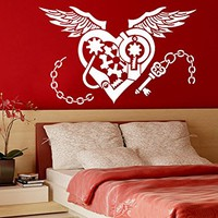 Heart Wall Decal Mechanism Wings of Love Wall Decals Vinyl Sticker Home Interior Wall Decor for Any Room Design Graphic Bedroom C613