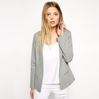 Casual Gray Long Sleeve Open Front Suit