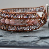 Beaded Leather Cuff Bracelet - Pink and Purple Boho Leather Bracelet