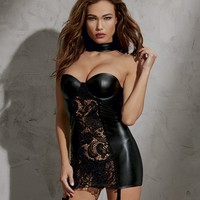 Faux Leather And Lace Garter Dress