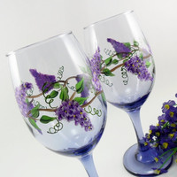 Lavender Wine Glasses Hand Painted Wisteria Set of 2