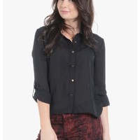 Black Sheer Is In Button Up Blouse   $10.00   Cheap Trendy Blouses Chic Discount Fashion for Women