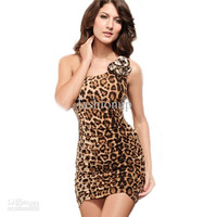 Summer Hot 2013 Fashion Sexy Slim Lace One Shoulder Leopard Print Backless Designer Evening Cocktail Party Women Dresses XH8-624