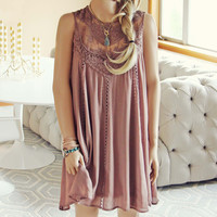 Lace Gypsy Dress in Taupe