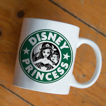 ariel mermaid starbuck disney princess mug Design by mugxagrip cup, white mug two face