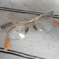 Vintage Cat Eye Glasses Bausch and Lomb Eye Glasses Eye Glass Frames Cat Eye Frames Gold Metal Eye Glass Frames Vintage Frames
