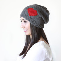 7-DAY SHIPPING to US- Grey Slouch hat with heart, Knit hat for women, Slouch Beanie, Slouch hat for women, Christmas gift for her, fast