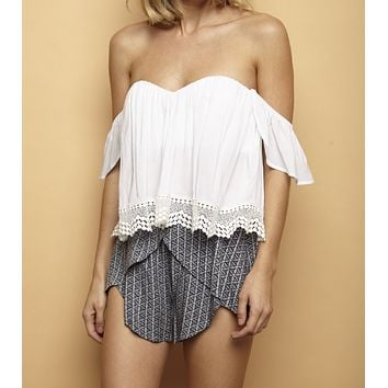Final Sale - Boho Chic Off The Shoulder Crop Top With Lace Trim in More Colors