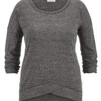 Plus Size - Thermal Crossover Hem Pullover - Gray