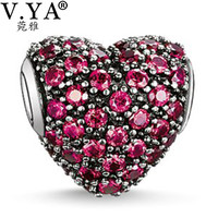 Heart Beads Charms fit Pandora Necklace Bracelet for Women Men Loose Bead Wine Red CharmsTZ108