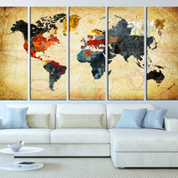 world map canvas art print, old world map wall art, large canvas print, extra large wall art, vintage world map canvas art t217