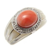 GENUINE NATURAL PINK CORAL DIAMOND RING MOTHER OF PEARL SHELL 14K WHITE GOLD