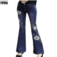 Spring Autumn new Women Jeans national wind Beaded Embroidered women's Jeans slim flared trousers women designer Denim Trousers