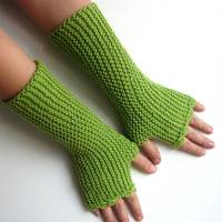 Green fingerless gloves in soft acrylic, texting gloves, vegan friendly, handknit soft armwarmers, choose your color and size