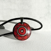 """Chic Hand Painted Pendant Red Pendant 0,8"""", Red Choker Wood Pendant, Leather Cord Necklace, Tiny Pendant Wooden Handmade Jewelry, Artdora"""