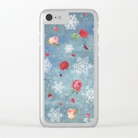 Snow and Roses Clear iPhone Case by Paula Belle Flores