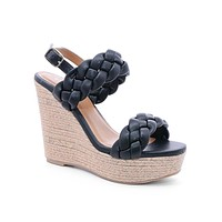 Black Leslie Braided Band Wedges