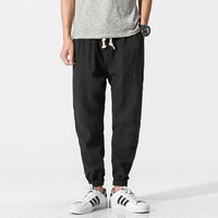 M-5XL Mens Chinese Style Thin Casual Pants Solid Color Linen Cotton Loose Harem Pants Men Big Size Trousers Jogger Sweatpants