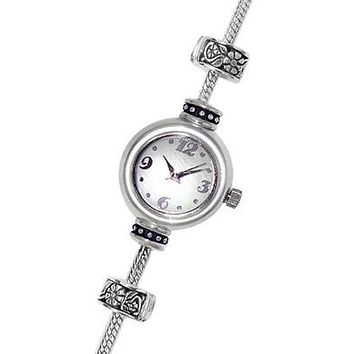 Reflection Beads Sterling Silver Watch Bead Bracelet - White Mother of Pearl