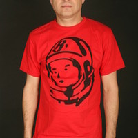 Billionaire Boys Club Short Sleeve Men's T-Shirt With Classic Helmet in Red/Black (B0012T208-Red/Blk)