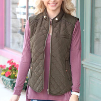Solid Quilted Vest {Olive}