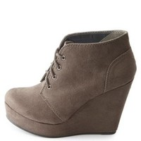 Lace-Up Platform Wedge Booties by Charlotte Russe - Gray