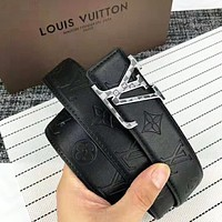 Louis Vuitton LV Fashion New Monogram Leather Women Men Belt Black
