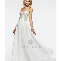 Faviana 2014 Prom Dresses - Ivory Floral Beaded Mesh & Chiffon Strapless Prom Dress