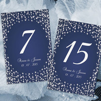 DIY Printable Wedding Table Number Template | Editable MS Word file | 4 x 6 | Instant Download | Navy Blue Diamond Shower