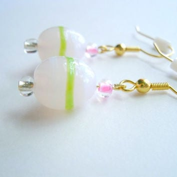 Easter Egg Earrings. Pink And Clear Glass Beads with Pink and White Stripes.