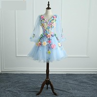 Quinceanera Dresses Long Sleeve Sweet Flowers Ball Gown Lace Elegant Short Colorful Prom Dress Party Formal Growns