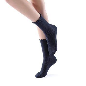Princess Lulu Ruffle Crew Sock | Navy