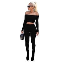 Fashion 2 Pieces Pants Rompers Womens Jumpsuit Off Shoulder Solid Sexy Ladies Two Pieces Sets Bodysuit Women Overalls WS3255V