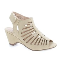 ShakeIIH Beige By Soda, Children Girls Peep Toe Caged Velcro Sling Back Wedges Sandals