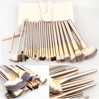 2015 Professional Soft 1Set/lot 12/18/24pcs Makeup Brushes Set Cosmetic Real Make Up Tools eyeshadow blush Set with Leather Bag