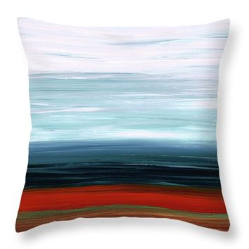 Abstract Landscape - Ruby Lake - Sharon Cummings Throw Pillow