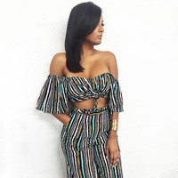 Colorful Backless Stripes Striped Two Pieces Jumpsuit