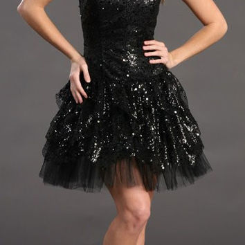 Short Prom Party Black Dress Sequin Strapless Full Layered Cocktail