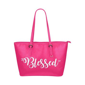 Womens Pink Tote Bag with Blessed Design